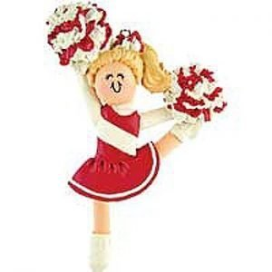 Cheerleading Ornament Resin Cheerleader in School Colors-0