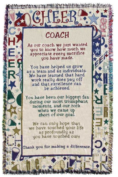 Cheerleading Coach Poem Throw-0