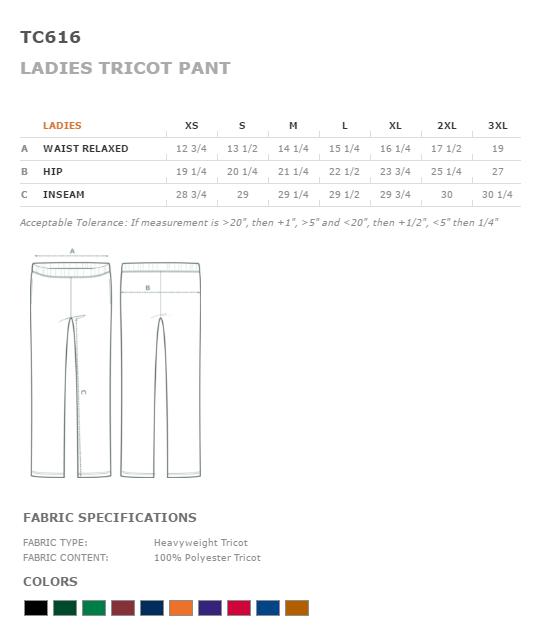 Cheerleading Tricot Warm Up Pant -27370