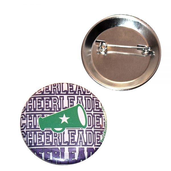 Cheer Button Cheerleader with Megaphone-0