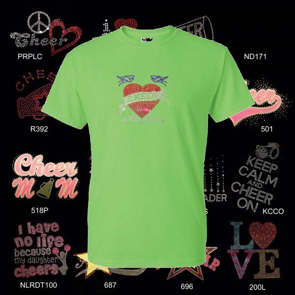 Cheer T shirt with Rhinestone Designs-0