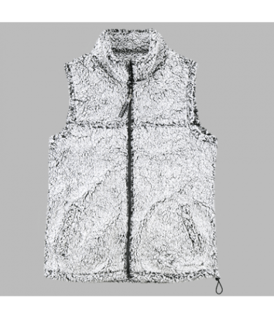 Full Zip Frosty Grey Sherpa Vest-29308