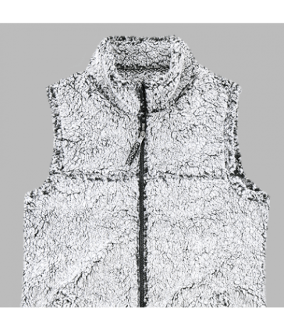 Full Zip Frosty Grey Sherpa Vest-29310